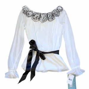 White and Black Rose Blouse Sheer Tie Waist Small